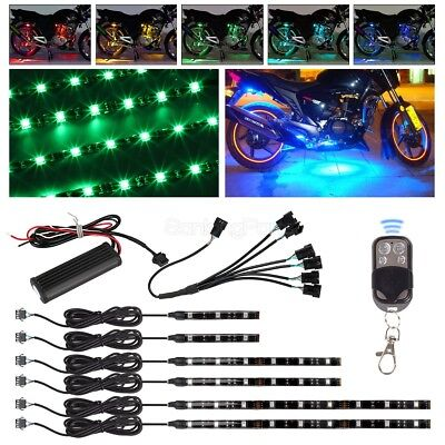 6pcs Million Color Flexible Strip Motorcycle 36 LED NEON Accent Lighting Kit