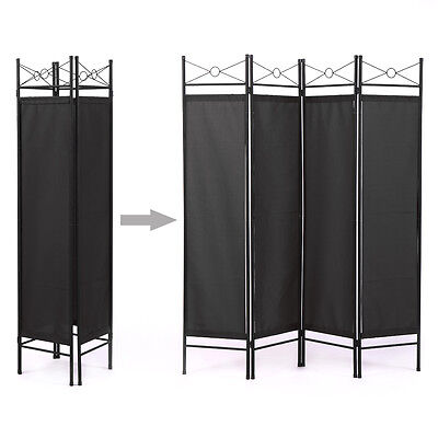 6ft Extra Wide 4 Panel Room Divider Folding Privacy Screen w/Steel Frame Black