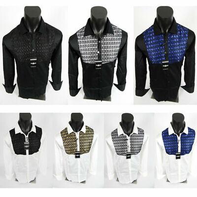 Mens Barabas Classic Fit Shirt Black or White Shiny Stitch Button Event Wedding
