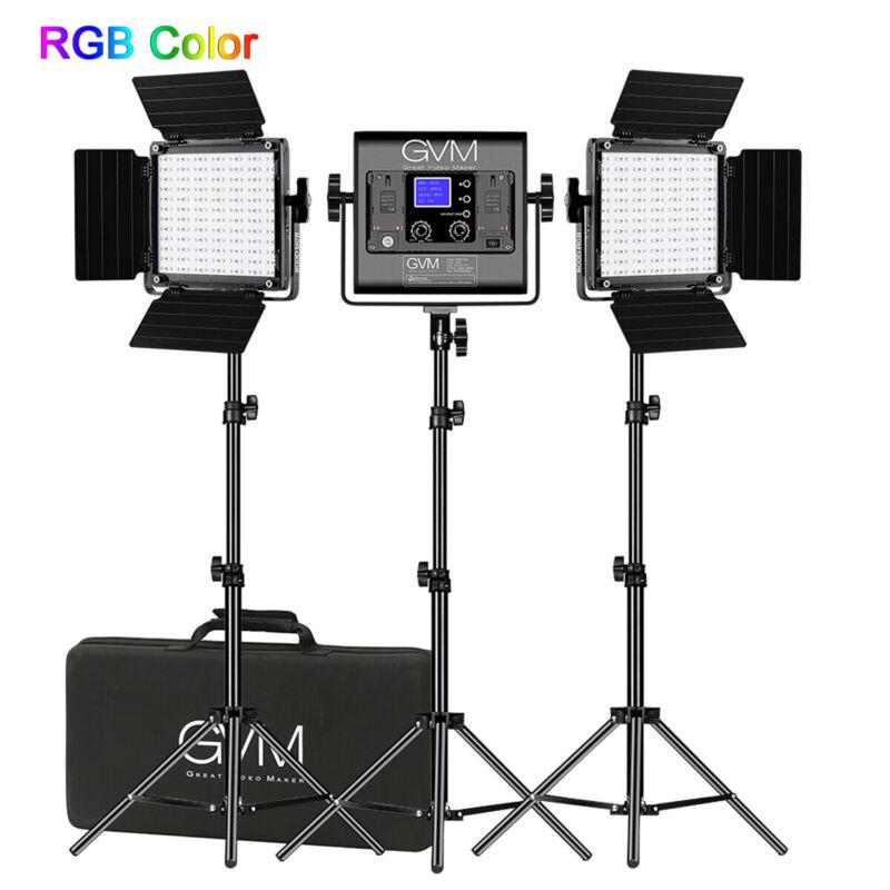 GVM RGB-800D Video Light,3 video Lights LED Camera Lights Kit With App Control