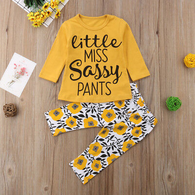 US Stock Newborn Baby Girls Clothes T Shirt Top+Floral Pants Leggings Outfit Set - Girls Apparel