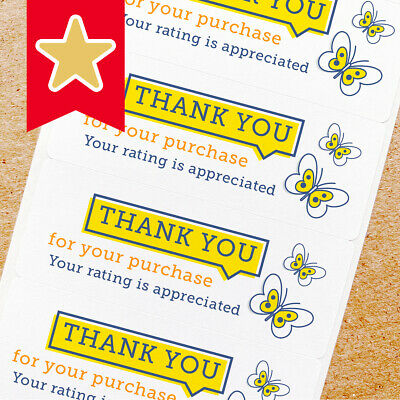 Thank You Labels Stickers For Online Shop Sellers 100ct - Yellow Butterfly