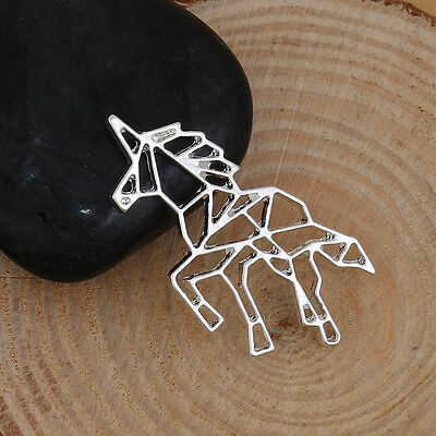 5 Unicorn Origami Style Pendants Charms - Silver Plated - 30mm x 30mm J84222