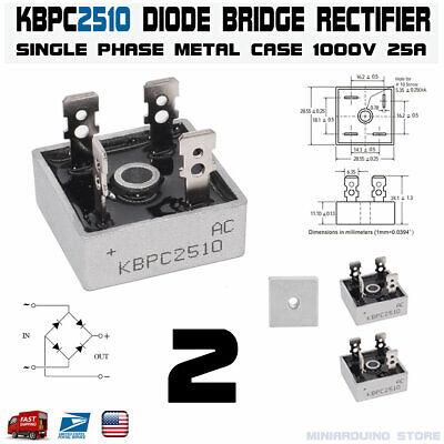 2pcs Kbpc2510 Diode Bridge Rectifier Single Phase Metal Case 1000v 25a Usa