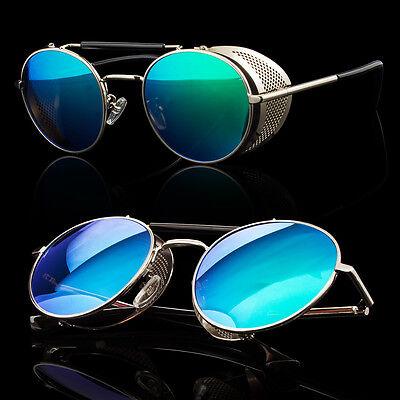 Round Shield Sunglasses - Silver Black Vintage Retro Steampunk Gothic Side Shield Hipster Round Sunglasses