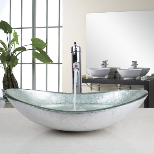 Details about RE Silver Oval Glass Basin Bowl Bathroom Vessel Sinks  Waterfall Mixer Faucet Set