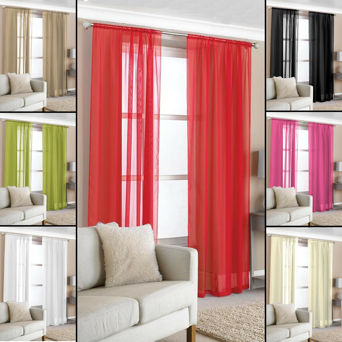 curtains - 2 Slot Top Voile Net Panels, Voiles Curtains Pair, Rod Many Sizes & Colours