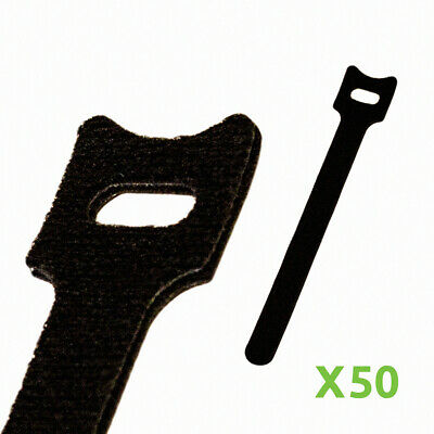 6 Inch Hook And Loop Reusable Strap Cable Cord Wire Ties 50 Pack Black