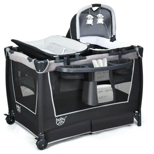 Mobile Playpen Infant Crib Nursery Baby Portable Playard Bed Cradle Bassinet 4-1