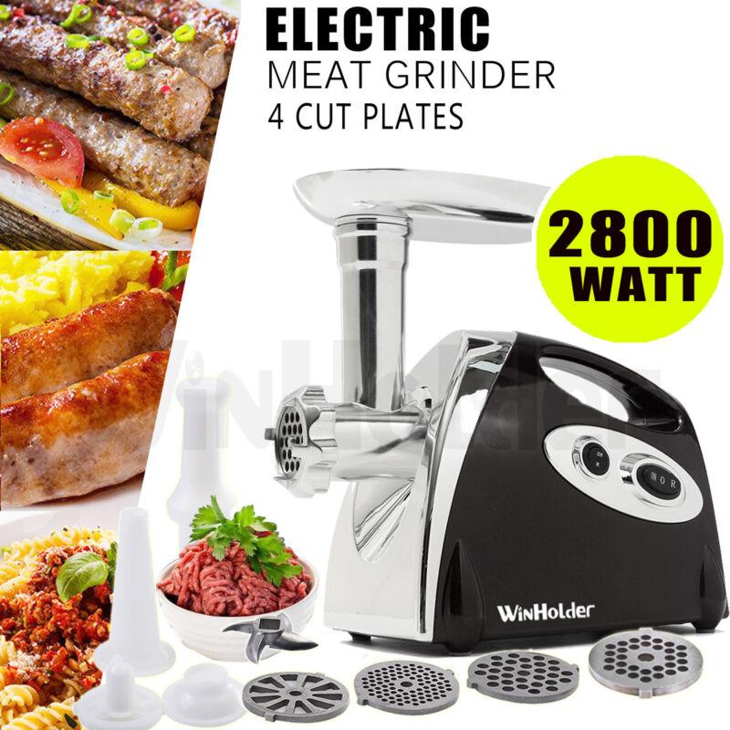 WinHolder Electric Meat Grinder Kitchen Food Sausage Mincer 4Blades 2800W Black