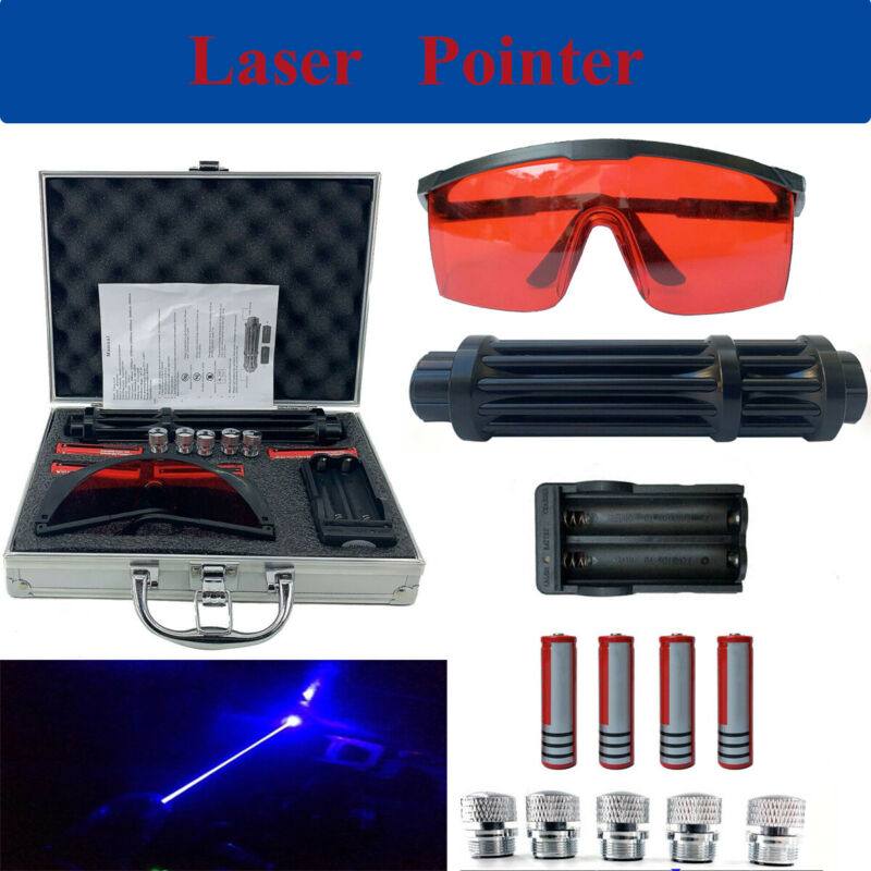 NEW Blue Visible Beam Light High Power Laser Pointer W/ 4×18650 Batteries+Box US