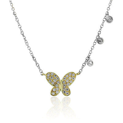 Meira T 14K Two Tone Gold Butterfly Diamond Necklace