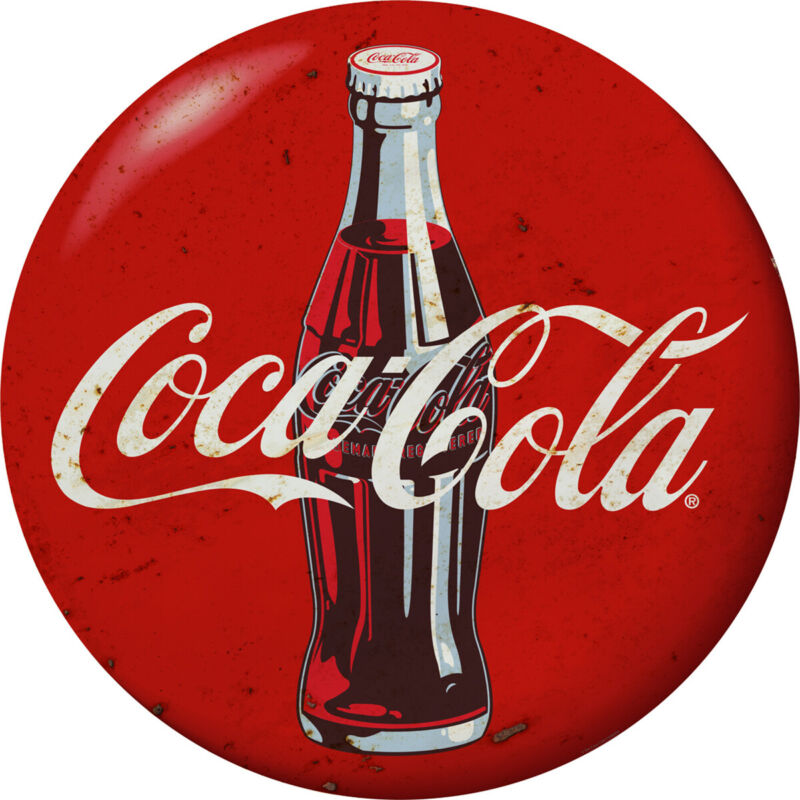 Coca-Cola Bottle Red Disc Decal 24 x 24 Distressed Vintage Style Decor Graphic