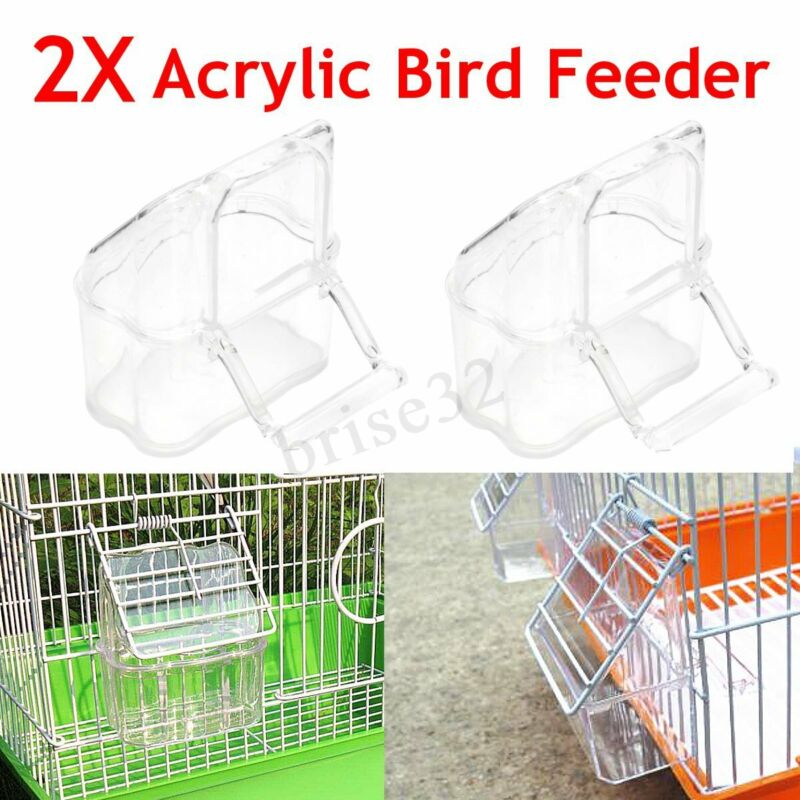 4X Acrylic Budgie Canary Bird green Food Feeder Clear Bowl with Perch Cage Home