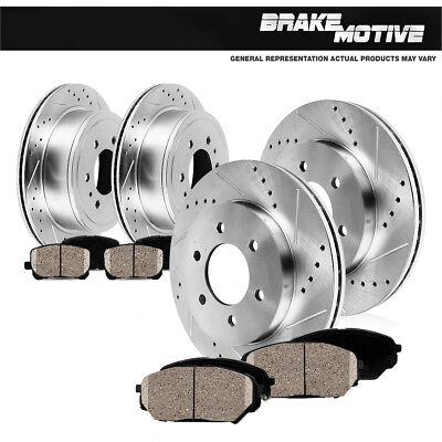 FrontRear Drill Slot Brake Rotors And Ceramic Pads Fits Nissan Frontier Xterra
