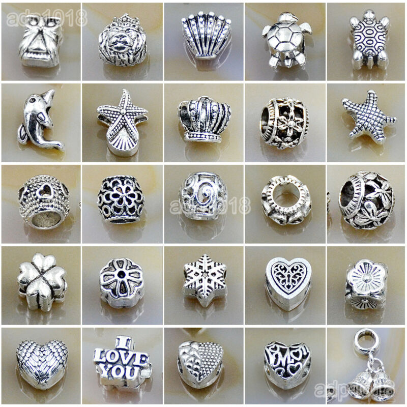 Wholesale Tibetan Silver Big Hole Spacer Beads Fit Charm European Bracelet charm
