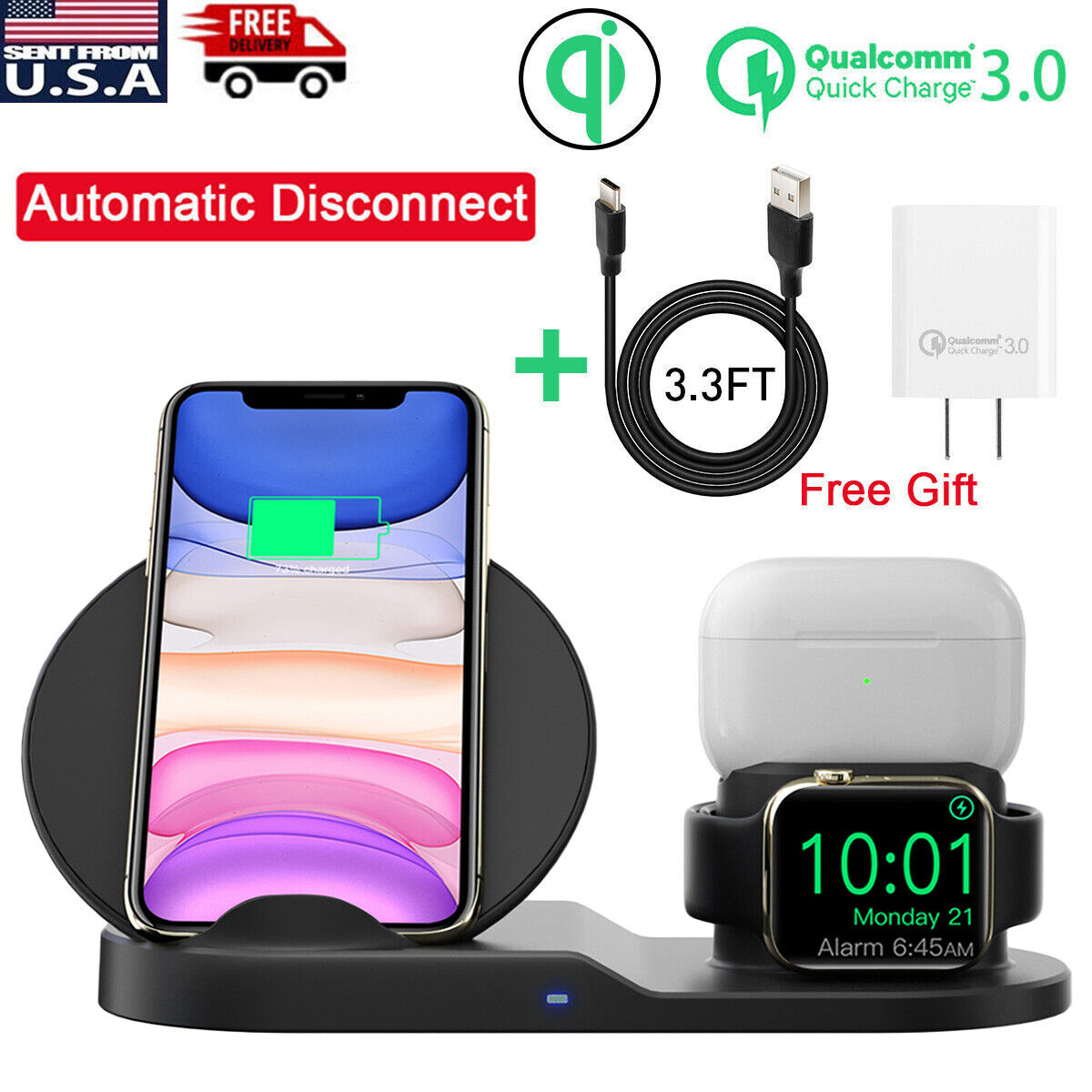 3in1 Qi Wireless Charger Charging Station Dock Apple Watch Iphone