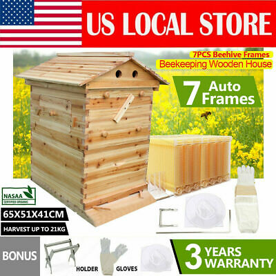 Hot Wooden Beekeeping Beehive House 7pcs Upgraded Auto Run Bee Comb Hive Frame