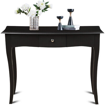 Wooden Console Table Hallway Entryway Side Sofa Accent Home Drawer Black