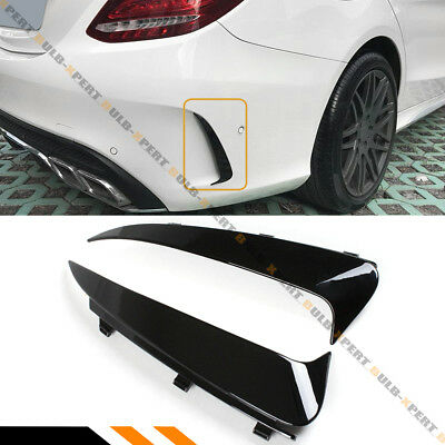 FOR 15-18 MERCEDES BENZ W205 AMG 4DR BLK SNAP ON REAR BUMPER VENT CANARDS INSERT