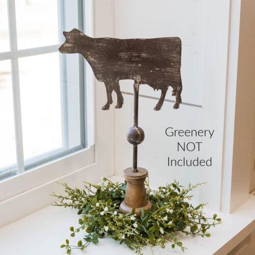 "New Primitive Rustic Antique Style COW PEDESTAL WEATHER VANE Standing Figure 15"""