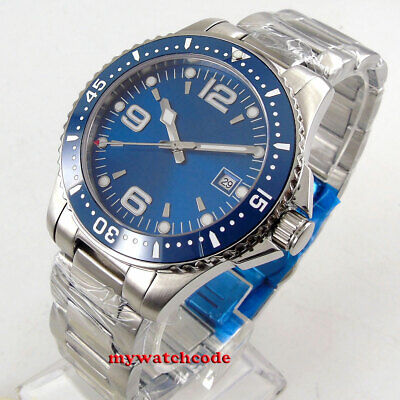 40mm bliger sterile blue dial sapphire glass ceramic bezel automatic mens watch