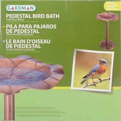 Lily Leaf Bird Bath Garden Bowl Antique Copper Pedestal Decor Backyard Patio New