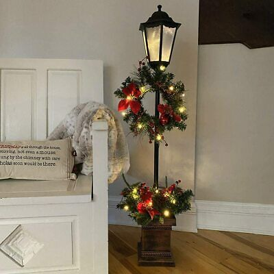 Lamp Post w/ Planter Base Versatile Winter Holiday Decoration LED Lighted Wreath