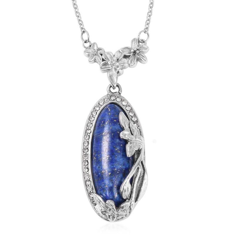 "Steel Lapis Lazuli Crystal Chain Pendant Necklace for Women 20"" Hypoallergenic"