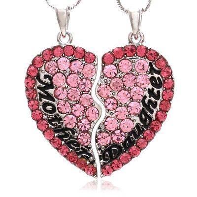 Hot Pink Mother Mom Daughter Mother's Day Best Friends Heart Pendant Necklace