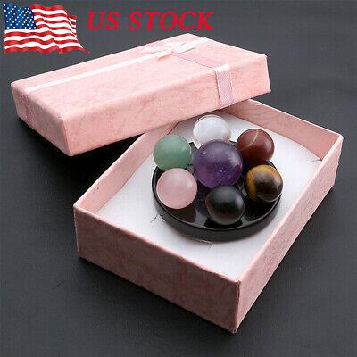Natural Healing 7 Chakra Ball Stones Fengshui Seven-Star Array Plate Basis Decor