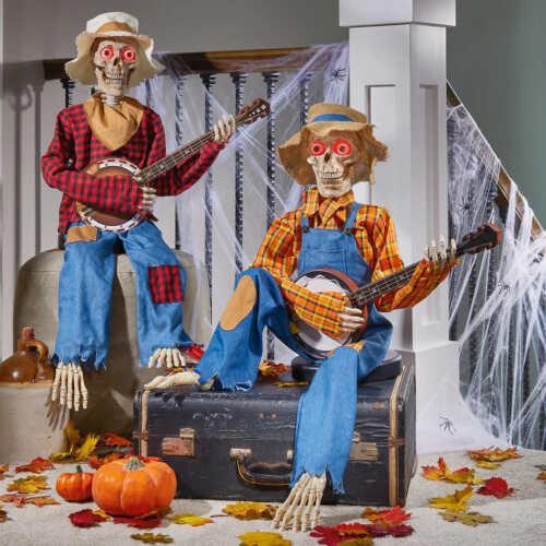 Animated Dueling Banjo Skeletons Halloween Decorations