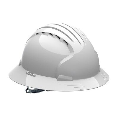 Jsp Vented Full Brim Hard Hat With 6 Point Slip Ratchet Suspension White
