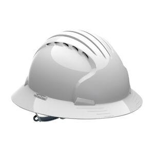 JSP Vented Full Brim Hard Hat with 6 Point Slip Ratchet Suspension, White