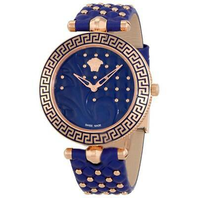 Versace Women's Watch Vanitas Quartz Blue Dial Strap VK7740017