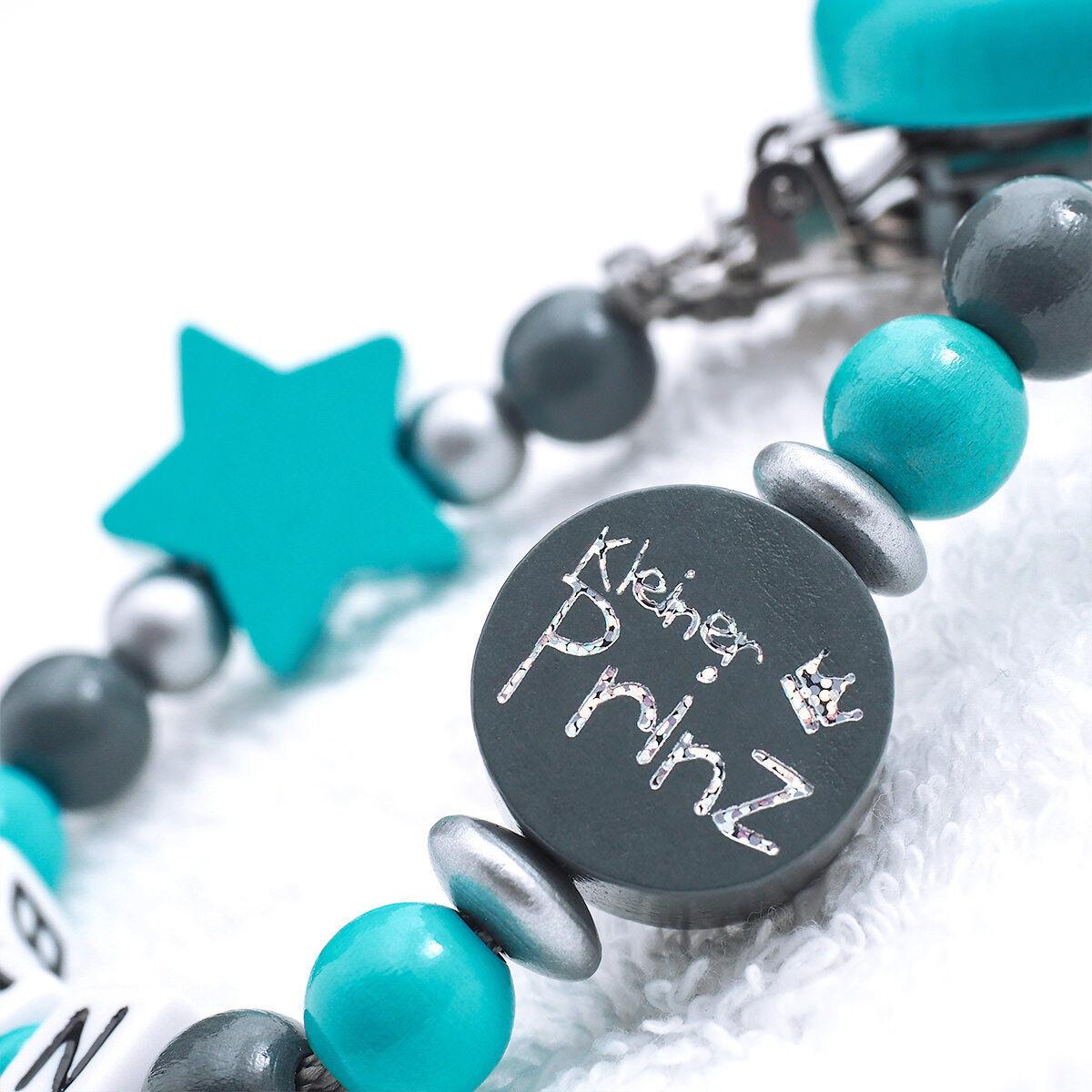 Schnullerkette mit Namen ★ Junge ★ grau türkis Babygeschenk Geburt Nuckelkette