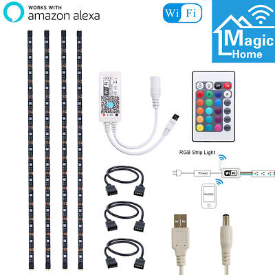 4pcs USB Powered RGB LED Strips Smart WiFi Mood Light for Alexa...