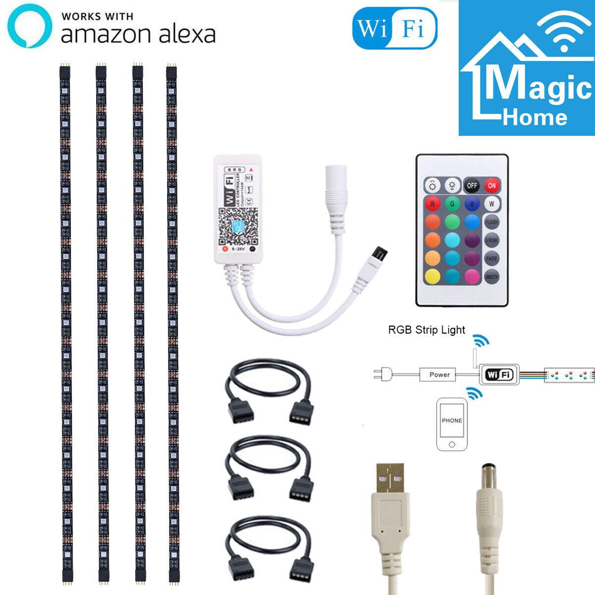 4pcs USB Powered RGB LED Strips Smart WiFi Mood Light for Alexa Google Home 5V