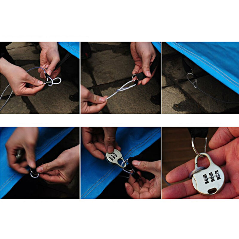 Lightweight Security Safe Cable Luggage Lock Wire Steel Coated Double Loop AL