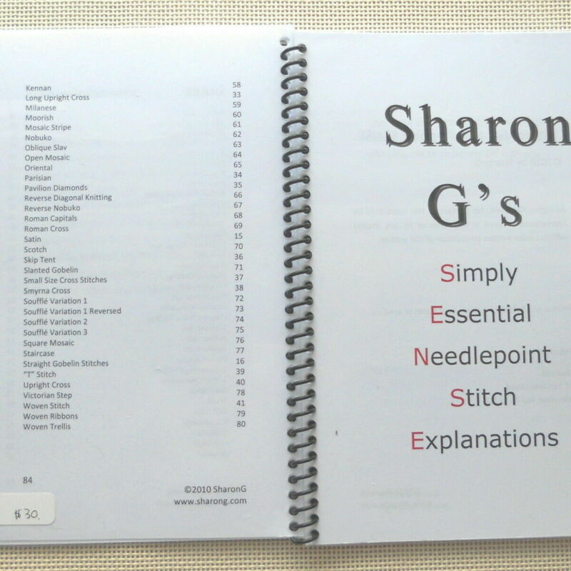 Sharon G Needlepoint SENSE Needlepoint stitch reference book