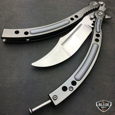 CSGO Practice Knife Balisong Butterfly Trainer Blade - Non Sharp Dull - Silver