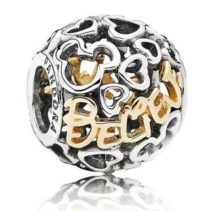 New 14K Gold Pandora Disney Mickey Believe Charm
