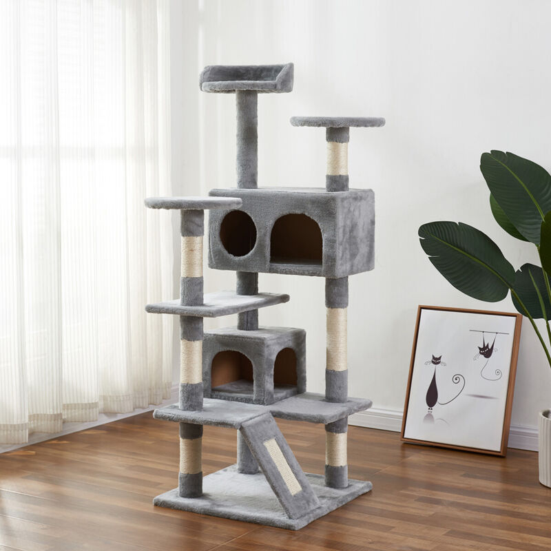 Cat Tree Cat Tower Furniture Apartment with Sisal Armrest and Armrest Board