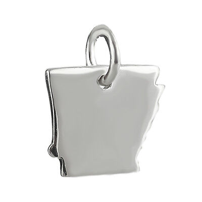 Outline Sterling Silver Charm - Arkansas State Charm - 925 Sterling Silver - Tiny Outline USA America Southern