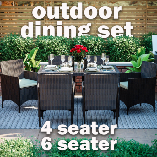 Garden Furniture - Rattan Garden Dining Set Furniture Table Chairs Outdoor 4 6 Seater Patio Malpas