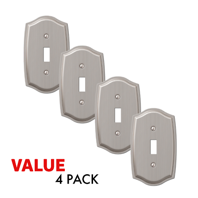 Value 4-Pack Toggle Light Switch Stylish Stamped Steel, Brushed Nickel Electrical Outlets, Switches & Accessories