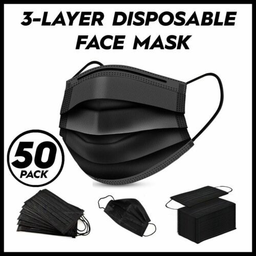 50 PCS Black Face Mask Mouth & Nose Protector Respirator Masks USA Seller Fast