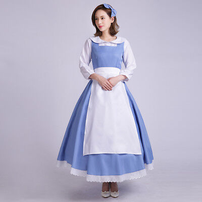 USA Adult Beauty and the Beast Belle Blue Maid Dress Cosplay Costume Halloween - Belle And The Beast Halloween Costumes