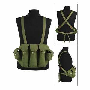 Vietnam Chicom AK Military Army Basic Canvas Ammo Pouch Chest Rig Webbing Vest
