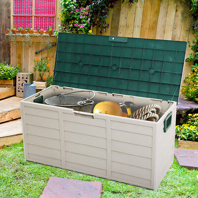 Outdoor Patio Deck Storage Box  Garage Shed Backyard Garden Tool Box Container